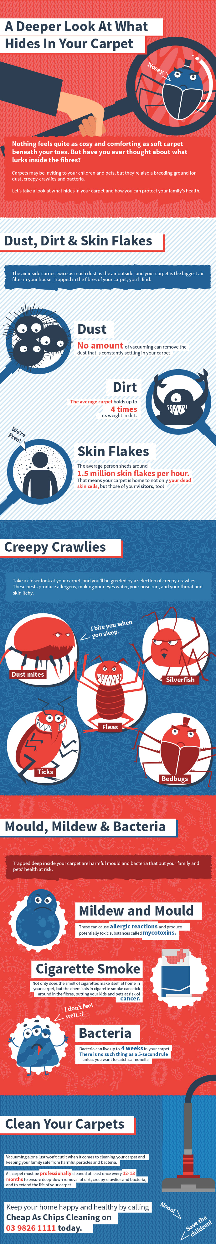 infographics of bacteria and allergens lurking in a carpet