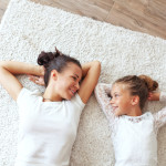 Mother and Daughter on Carpet